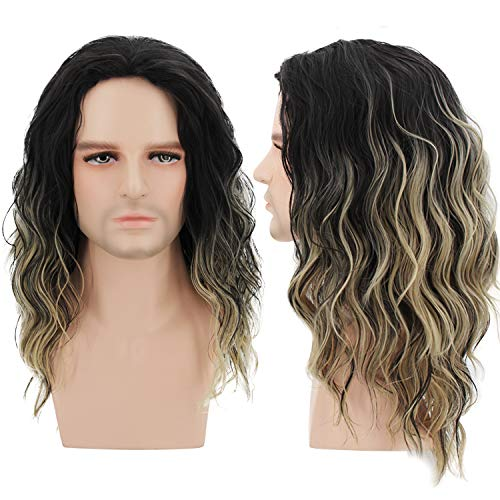 Menoqi Men Wigs Short Curly Male Hair Shoulder Length Ombre Golden Gradient Wigs Movie Cospaly Costume Wigs WIG182 ()