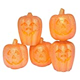 Eldnacele Set of 5 Pumpkin LED Candles for Halloween, Flameless Flickering Candles with Timer, Jack O Lantern