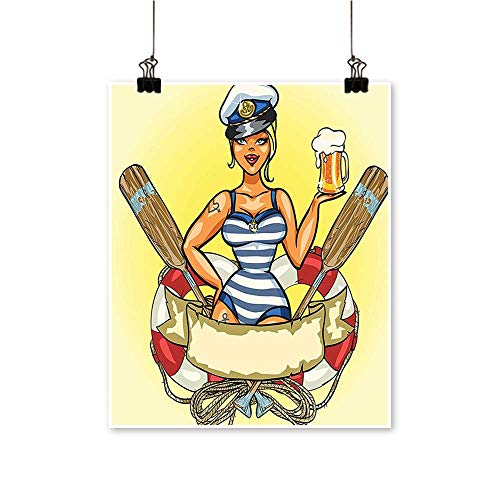 Modern Canvas Painting Wall Art Pin Up Sexy Sailor Girl in Lifebuoy with Captain Hat and Costume Glass for Home Office,28
