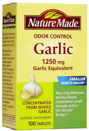Nature Made Odor Control Garlic Tablets, 1250 mg - 100 ct, Pack of 2 - Odor Control Garlic