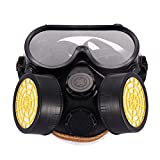 Domybest Industrial Gas Chemical Anti-Dust Paint Respirator Mask Glasses Goggles Set