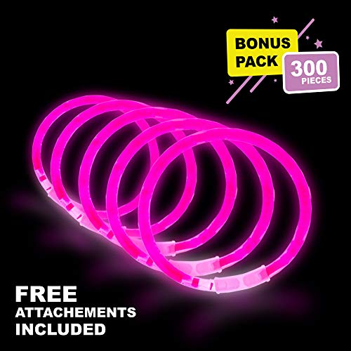 Lumistick 10 Inch Glow Stick Bracelets | Non-Toxic & Kids Safe Light Up Neon Handwear | Party Pack Bendable Light Sticks with Connectors | Glows in The Dark Chem Lights (Pink, 300 Glow Sticks) -