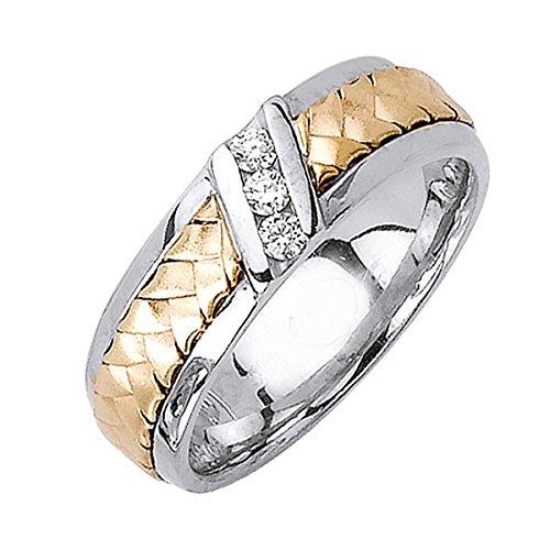 - 0.09ct TDW White Diamonds 14K Gold Braided Men's Wedding Band (G-H, SI1-SI2) (6mm) Size-10.5c4