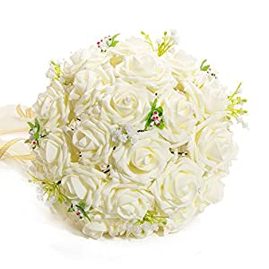 charm Lace pearls baby's breath rose married bride holding flowers wedding bouquet with Pearls Chain Ribbon Hand Tie 16