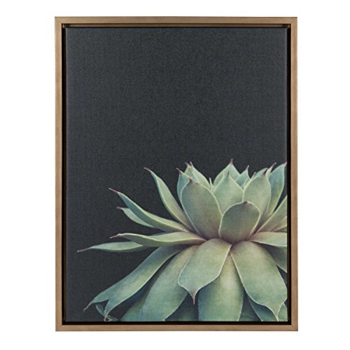 Kate and Laurel Sylvie Succulent 18x24 Gold Framed Canvas Wall Art by F2 Images