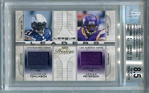 (LaDainian Tomlinson Adrian Peterson Brian Westbrook Willie Parker 2008 Playoff Prestige League Rushing Leaders #LL-17#/250 QUAD Jersey Swatch Football Card BGS 8.5)