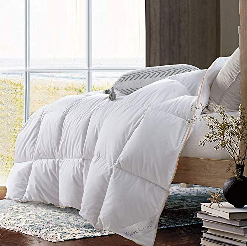 Weight Down Comforter - ROSECOSE Luxurious Lightweight Goose Down Comforter King Size Duvet Insert Solid White 1200 Thread Count 750+ Fill Power 100% Cotton Cover Hypo-allergenic Down Proof with Tabs (King,White)