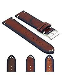 DASSARI Kingwood Extra Long Italian Leather Hand Finished Vintage Watch Strap w/ Minimal Stitching in Brown 21mm