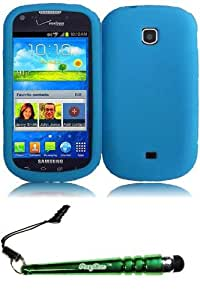 FoxyCase(TM) FREE stylus AND For Samsung Galaxy Stellar i200 Legend Silicone Skin Cover Case - Sky Blue Desire Phone Protector cas couverture