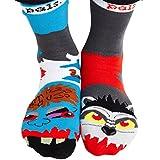 Crazy Mens Mismatched Zombie and Werewolf Halloween Frenemy Socks