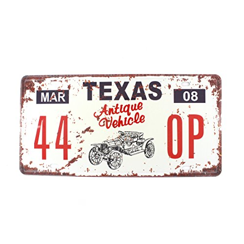 6x12 Inches Vintage Feel Rustic Home,bathroom and Bar Wall Decor Car Vehicle License Plate Souvenir Metal Tin Sign Plaque (TEXAS ANTIQUE VEHICLE)