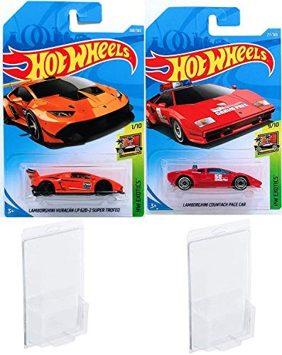 AYB Products Huracan Hot Wheels Lamborghini Huracán LP 620-2 Super Trofeo Orange 2018 HW Exotic Collection + Grand Prix Pace Car 2018 #217 Red Countach Safety Die-Cast Bundle in Protective Cases ()