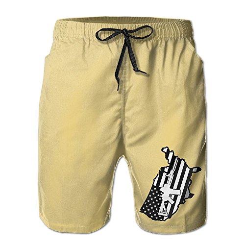 AR 15 USA American Flag Decalflag Vinyl Decal Second 2nd Men's Swim Trunks Beach Shorts Mesh Lining Swim Trunks With Pockets (Vinyl Mens Shorts)