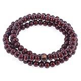 Gleader Stretch Strap 6mm Dia Beads Sandalwood Buddhist Prayer Necklace Red
