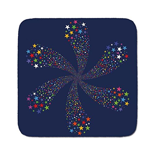 Cozy Seat Protector Pads Cushion Area Rug,Modern,Firework Stars in Floral Shaped Bright Festive Celebration Birthday Themed Graphic,Dark Blue,Easy to Use on Any Surface