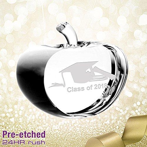 Pre-etched Graduation Crystal Apple Gift - Prism Crystal Awards