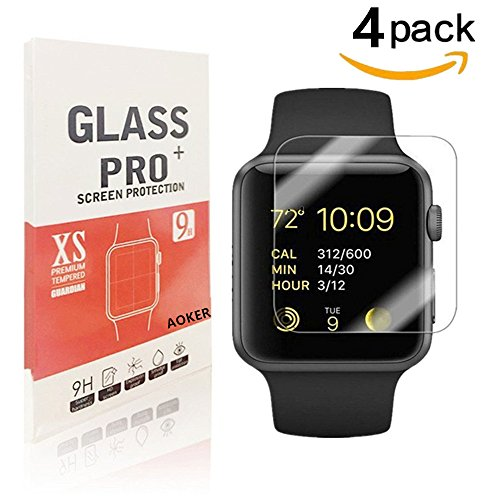 [4Pack]-Apple Watch 38mm Tempered Glass Screen Protector, AOKER [Anti-Scratch] [Bubble Free] [Easy Installation] 9H Hardness Ultra Clear Screen Protector for Apple Watch 38mm (4Pack)
