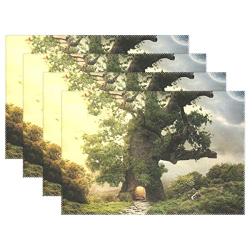- Promini Heat-Resistant Placemats, Beautiful Fairy Home Tree Washable Polyester Table Mats Non Slip Washable Placemats for Kitchen Dining Room Set of 4