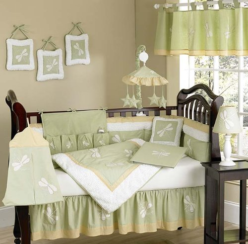 Dragonfly Dreams Green Bug Neutral Baby Boy Girl Bedding 9pc Crib Set by Sweet Jojo (Dragonflies Bedding Collection)