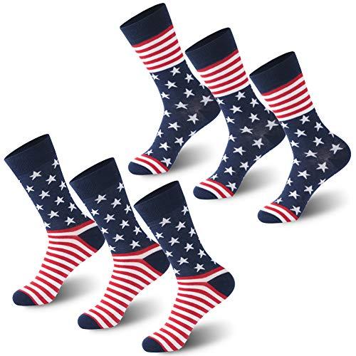 Casual Style Gentlemen Business Socks, Calbom 2 Patterns 6 Pack Colorful American Flag Men Socks, Youth Adult Mid Calf Suit Dress Socks from Calbom