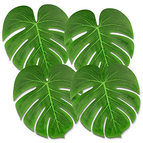 """Tropical Palm Leaves 60 Pcs Large 13"""" Tropical Leaf Artificial Simulation Tropical Palm Plant Leaves for Hawaiian Luau Safari Party Jungle Beach Theme BBQ Party Tropical Decorations Party Supplies"""