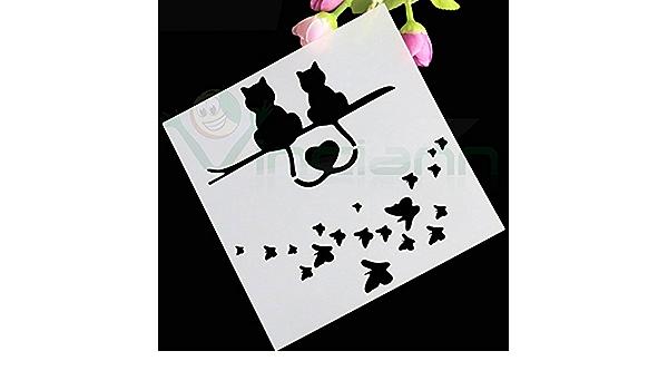 Stencil Cats Love soporte gato gatos Decoración Tartas Pasteles Cake Design: Amazon.es: Electrónica