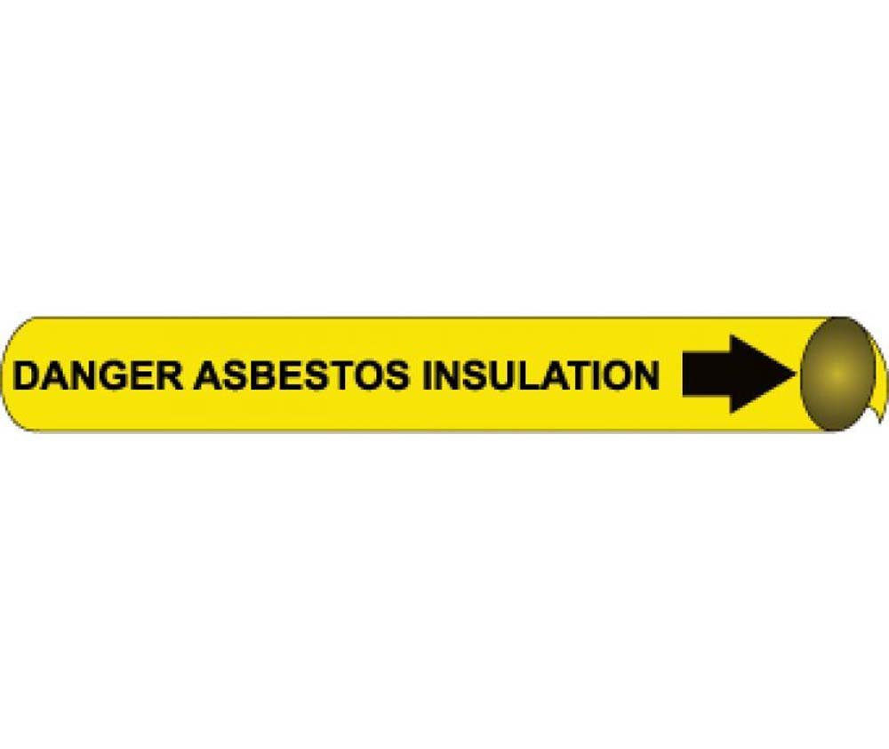 NMC F4033 ''Danger Asbestos Insulation'' Strap-On Pipe Marker, Fits 6''-8'' Pipe, Black/Yellow