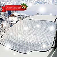 SONRU Magnet Car Windshield Snow Cover & Sunshade Cover, All Season Windshield Cover with Cotton Thicker Protection, Anti-Theft No Scratched Fits for Most Cars(72'' X 46'')