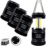 LED Camping Lantern - Gold Armour 4 Pack Portable LED Camping Lantern Flashlight with Magnetic Base - EMITS 500 LUMENS - Survival Kit for Emergency, Hurricane, Power Outage 12 AA Batteries Included (Black)