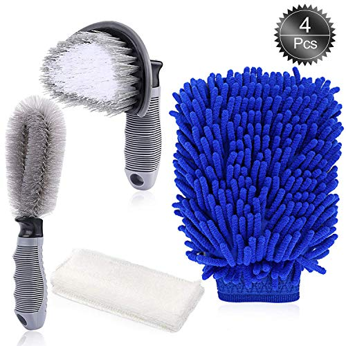 Oumers Car Wheel Clean Brush Kit, Car Cleaning Tools, Tire Rim Scrub Brush Tyre Brush Chenille Wash Mitt Car Auto Motorcycle Bike Wheel Cleaning Set (4pcs) by Oumers