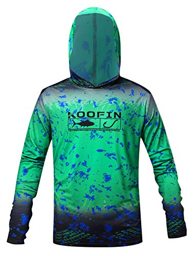 Performance Fishing Hoodie UPF 50 Dri Fit Sunblock Shirt Long Sleeve Quick-Dry Fade Pattern Green