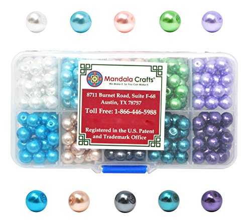 Mandala Crafts 4mm 6mm 8mm Assorted Round Colored Glass Pearl Beads Kit in Bulk for Jewelry Making (8mm, Combo (50 8mm Glass Pearl Beads)