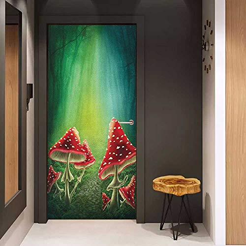 (Onefzc Front Door Sticker Mushroom Dark Forest with Mushrooms Adventure Misty Mysterious Wizard Witch Magic for Home Decor W35.4 x H78.7 Sea Green Red Cream)