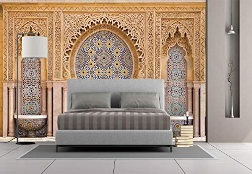 Large Wall Mural Sticker [ Moroccan Decor,Typical Moroccan Tiled Fountain in The City of Rabat Near The Hassan Tower, Self-Adhesive Vinyl Wallpaper/Removable Modern Decorating Wall Art