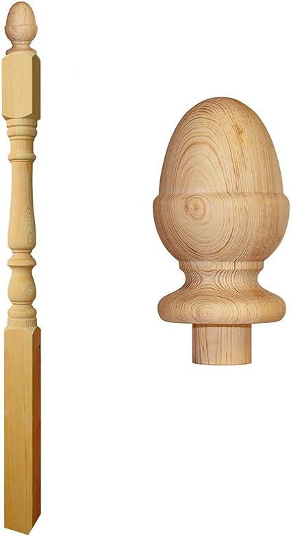 Colonial Newel - Escalera de madera de pino con tapa de bellota (150 mm): Amazon.es: Bricolaje y herramientas