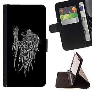 BullDog Case - FOR/Samsung Galaxy S4 Mini i9190 / - / cool abstract lion art /- Monedero de cuero de la PU Llevar cubierta de la caja con el ID Credit Card Slots Flip funda de cuer