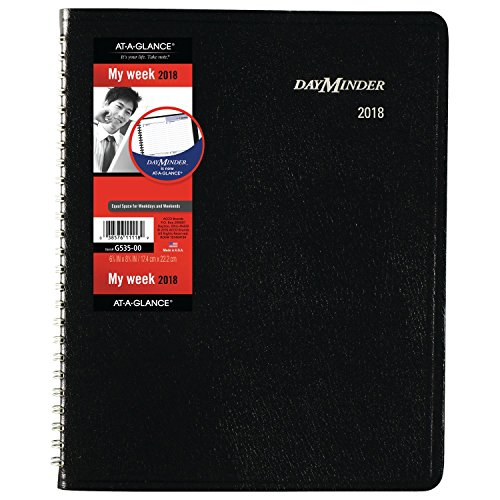 "AT-A-GLANCE DayMinder Weekly Planner, January 2018 - December 2018, 6-7/8"" x 8-3/4"", Block Style, Black (G53500)"