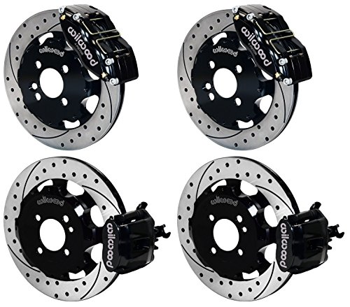 NEW WILWOOD COMPLETE FRONT & REAR DISC BRAKE KIT WITH BRAKE LINES, FITTINGS, PARKING BRAKE CABLES, DRILLED ROTORS, BLACK CALIPERS, PADS, 2002 - 2013 MINI COOPER COUPE, CONVERTIBLE, HATCHBACK, COOPER S, 2002, 2003, 2004, 2005, 2006, 2007, 2008, 2009, 2010, by Southwest Speed