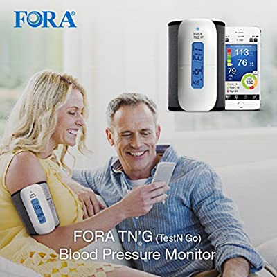 FORA Test N'GO Wireless Bluetooth Upper Arm Blood Pressure Monitor, App  Compatibility with iOS and Android, Adjustable Cuff, LCD Backlight Display,