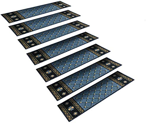 - StepBasic Non-Slip Rubber Backing Resistant Carpet Stair Gripper Set of 14 - Blue Diamond (8.5