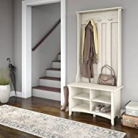 Salinas Hall Tree with Storage Bench in Antique White - Shoe Bench and Hall Tree