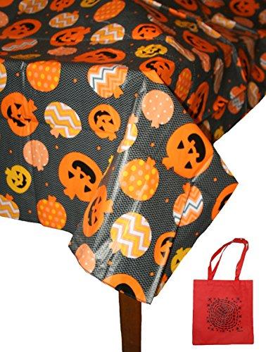 Midnight Market Halloween Pumpkins Vinyl Tablecloth & Tote Gift Set (Oblong 52
