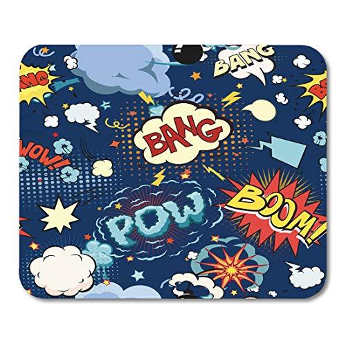 Emvency Mouse Pads Pattern Comic Book Speech Bubbles Effect Cartoon Graphic Pop Noise Mousepad 9.5