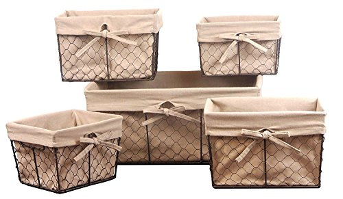 Basket Shelf Wicker (DII Home Traditions Vintage Metal Chicken Wire Storage Basket with Removable Fabric Liner, Set of 5 Mixed Nesting Sizes, Natural Christmas)