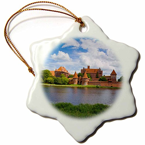 3dRose Danita Delimont - Poland - Poland, Malbork, Medieval Malbork Castle. - 3 inch Snowflake Porcelain Ornament (orn_249360_1)