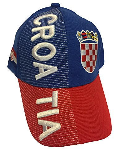 Baseball Caps Hats with Five 3D Embroideries - Countries of Americas (Country: Croatia)