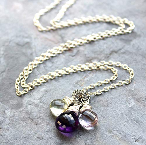 Amethyst Necklace Sterling Silver Multi Gemstone Pendants Purple Green Pink 18