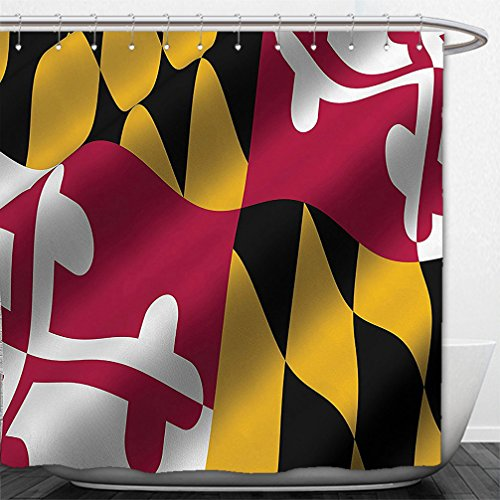 Interestlee Shower Curtain American Decor Collection Flag of the US State of Maryland Close Up Picture Waving American National Image Yellow - Maryland Macys