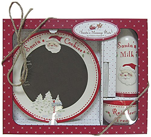 Child to Cherish No Model B01MSHIHI6 Santa and Reindeer Goodies 3pc Ceramic Message Plate 13