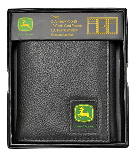 John Deere Men's Tri-Fold Wallet,Black,One Size
